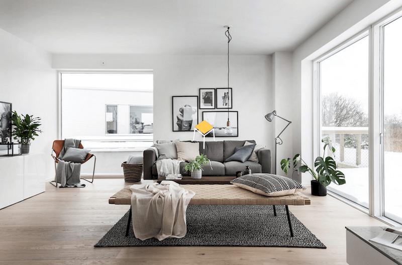 Sofa phong cách Bắc Âu chất liệu nỉ, vải