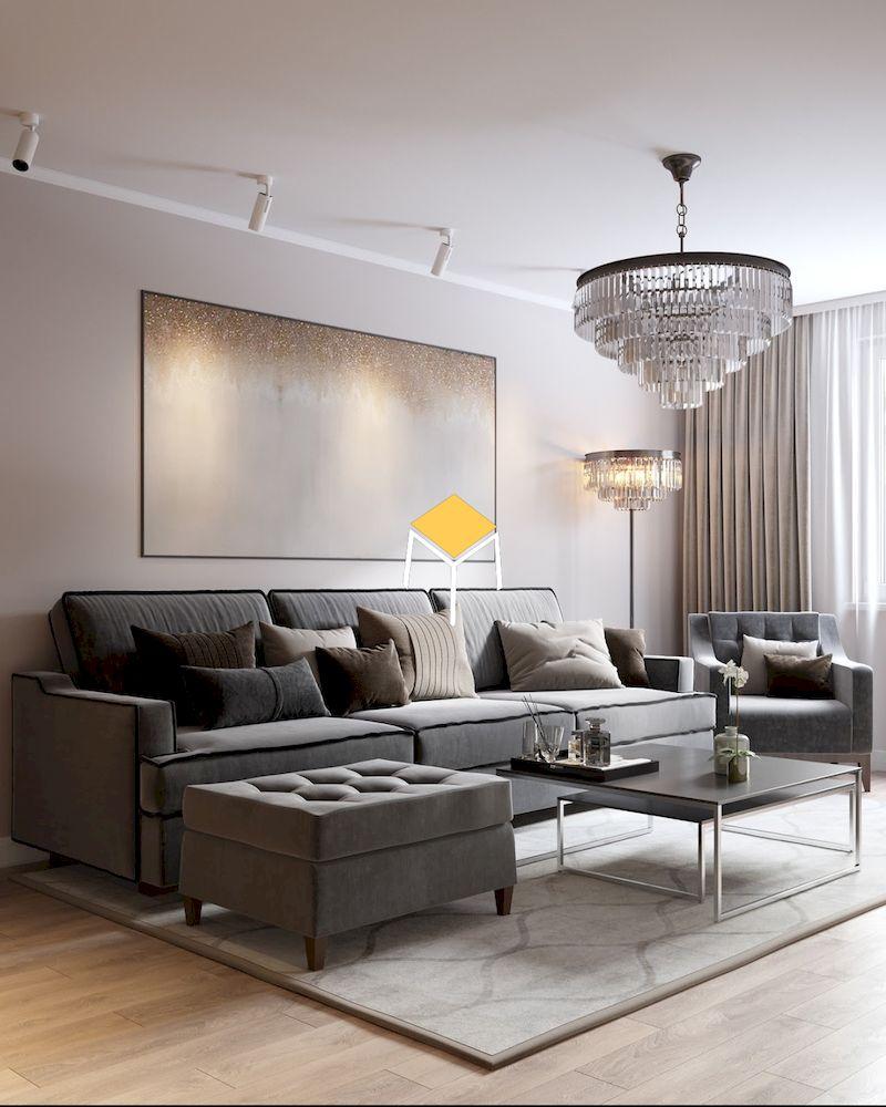 Sofa màu trung tính nổi bật trên nền tường trắng
