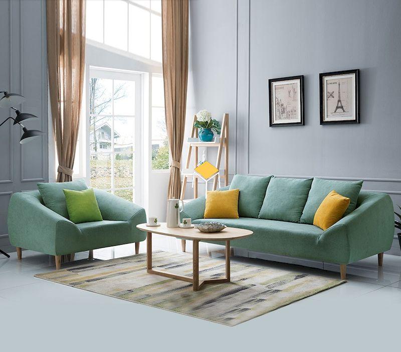 Mẫu bàn ghế sofa phong cách Bắc ÂU màu xanh nổi bật, trẻ trung