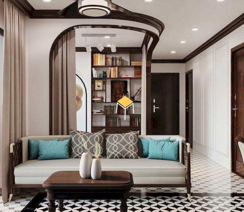 Sofa phong cách Đông Dương khung gỗ tự nhiên