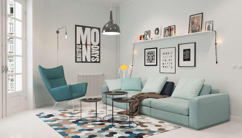 Sofa phòng cách Scandinavian màu sắc tinh tế