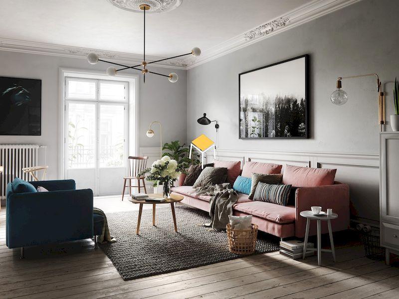 Nội thất phòng khách chung cư phong cách Scandinavian