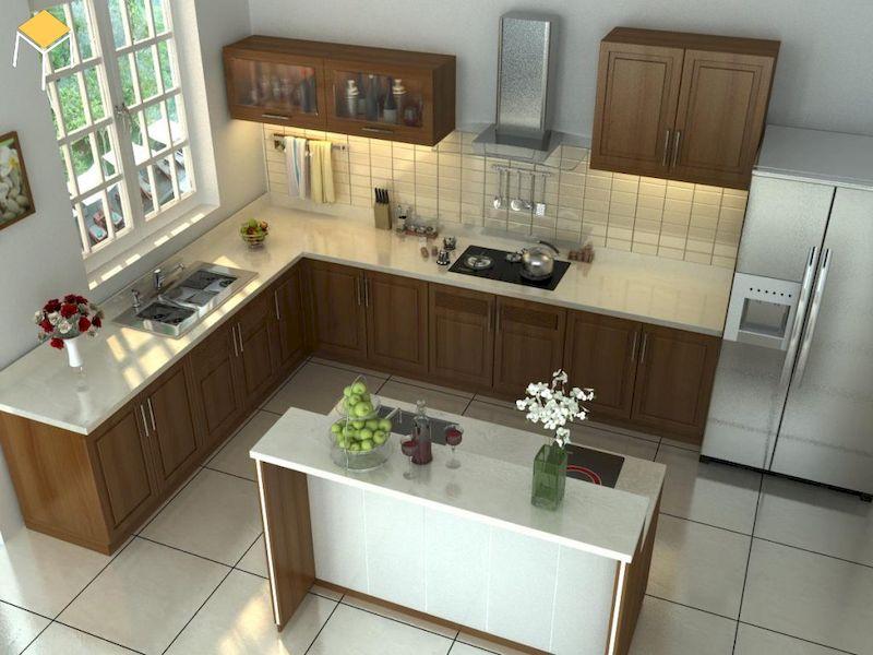 Thiết kế nhà bếp ở nông thôn gỗ óc chó