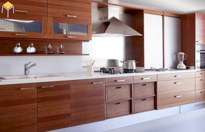 Thiết kế nhà bếp ở nông thôn gỗ xoan đào