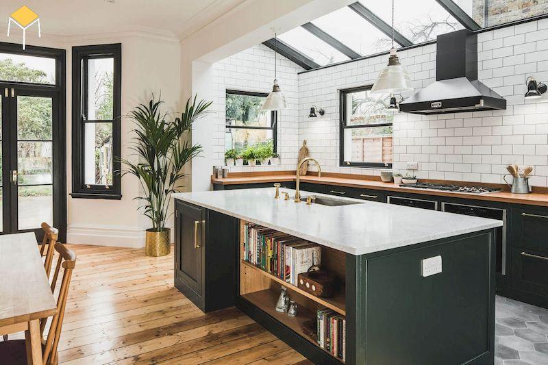 Thiết kế nhà bếp ở nông thôn có đảo bếp
