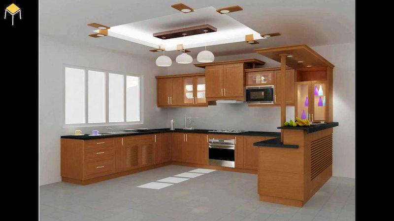 Mẫu tủ bếp kết hợp quầy bar gỗ tự nhiên