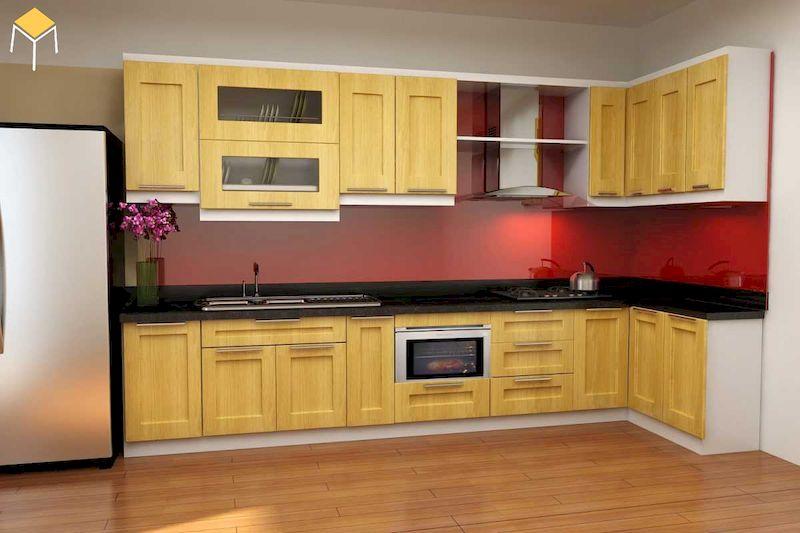 Thiết kế nhà bếp ở nông thôn gỗ tự nhiên sồi