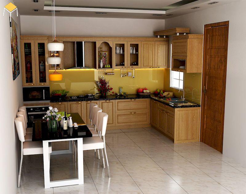 giá thi công nội thất nhà bếp gỗ tự nhiên
