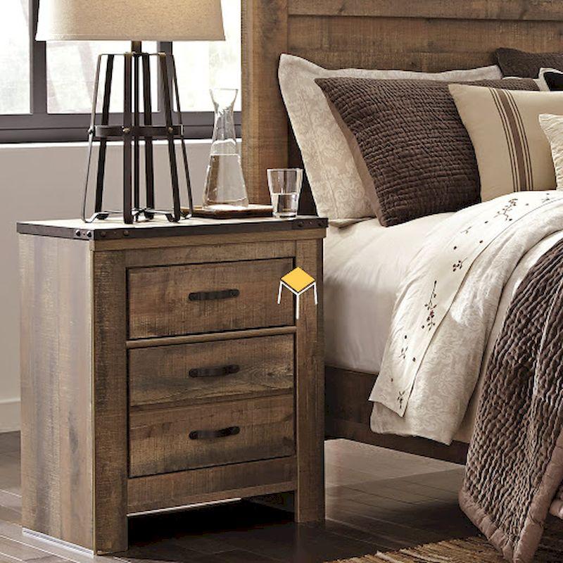 Mẫu tủ đầu giường gỗ tự nhiên đẹp, 3 ngăn