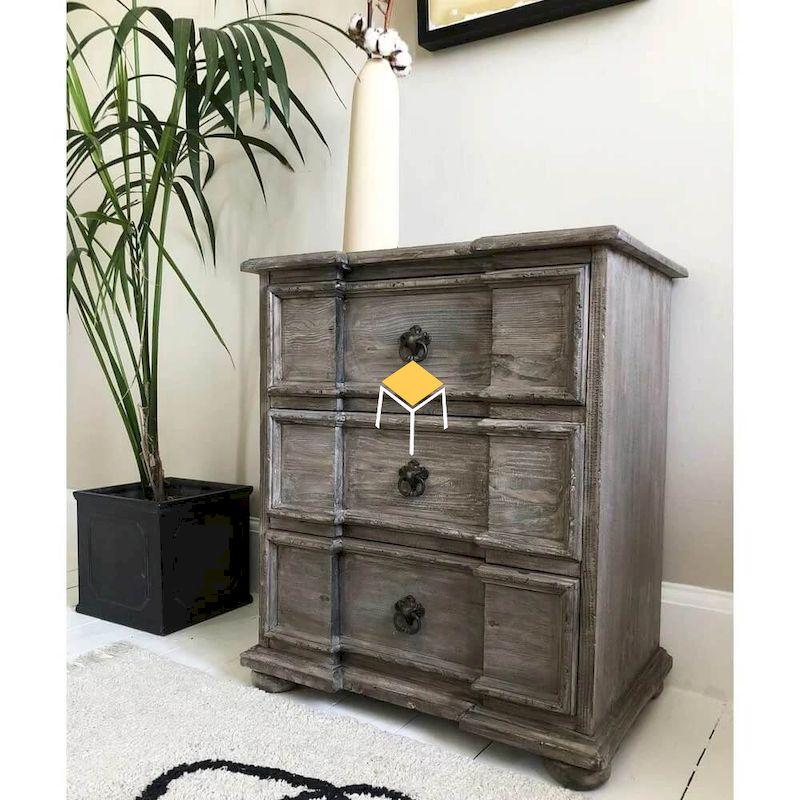 Tủ đầu giường gỗ tự nhiên phong cách tân cổ điển