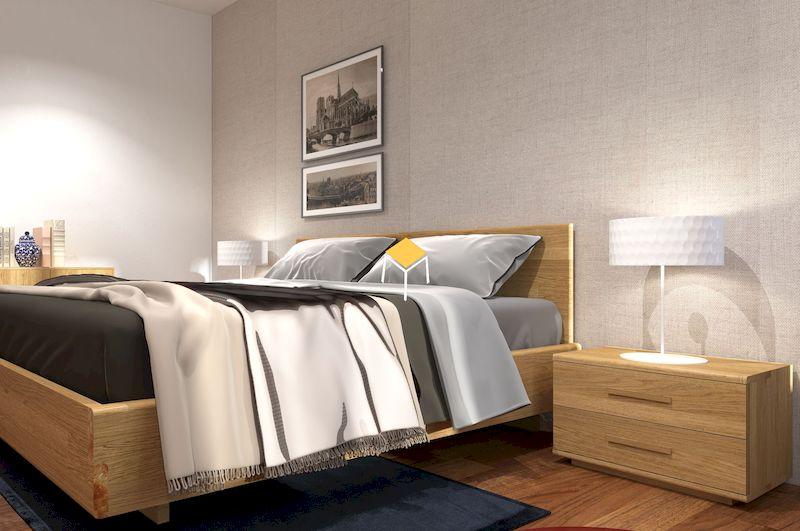 Nội thất phòng ngủ - tủ đầu giường gỗ tự nhiên kết hợp đèn ngủ
