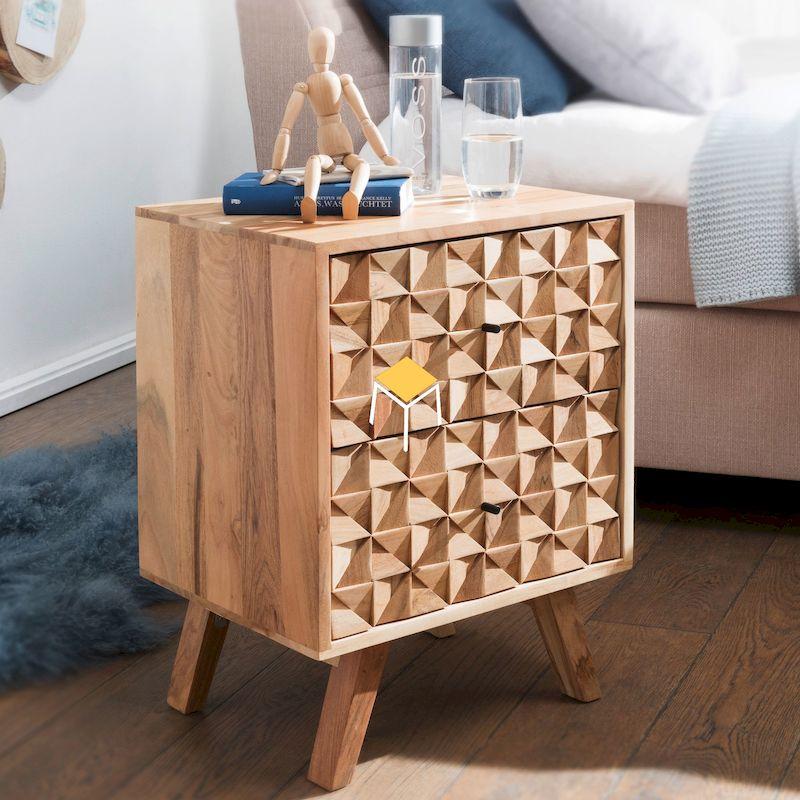 Tủ đầu giường gỗ tự nhiên đẹp, kiểu dáng ấn tượng
