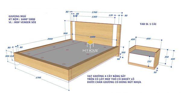bản vẽ giường ngủ đối với thiết kế