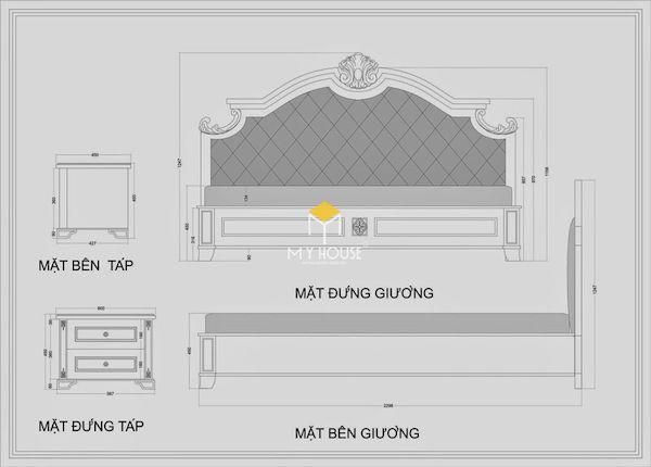 Bản vẽ giường ngủ 2D