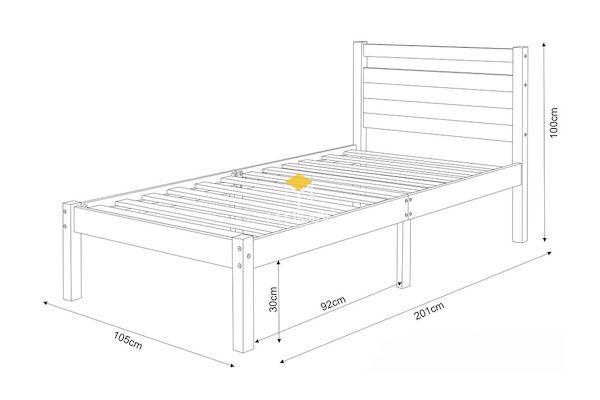 Bản vẽ giường đơn 1m x 2m