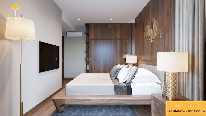 Thiết kế nội thất phòng ngủ gỗ óc chó