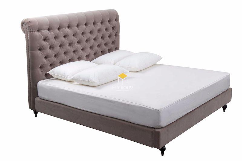 giường gỗ công nghiệp bọc nỉ kết hợp chân gỗ tự nhiên