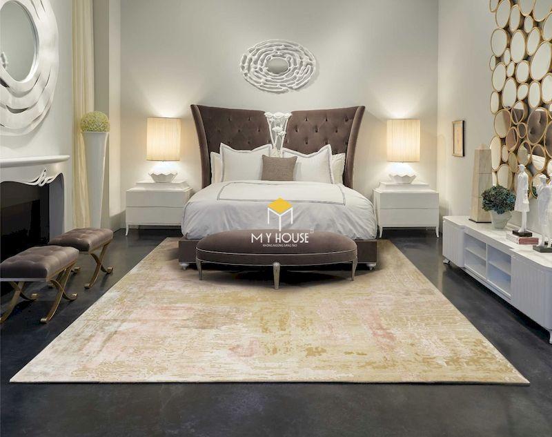 Thiết kế nội thất phòng ngủ sang trọng với mẫu giường bọc nỉ đẹp