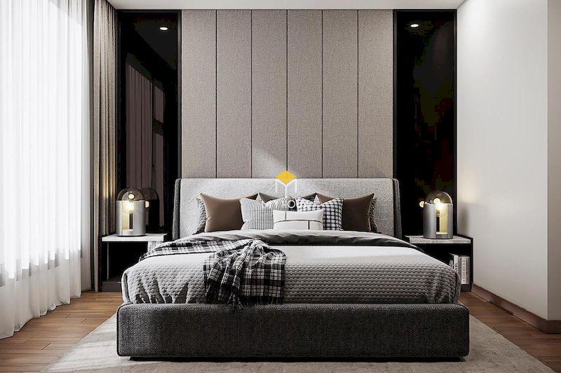 Mẫu giường ngủ hiện đại gỗ công nghiệp bọc nỉ