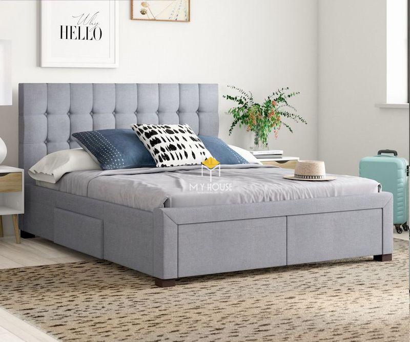 Mẫu giường ngủ bọc nỉ hiện đại thiết kế với các ngăn kéo chứa đồ đa năng
