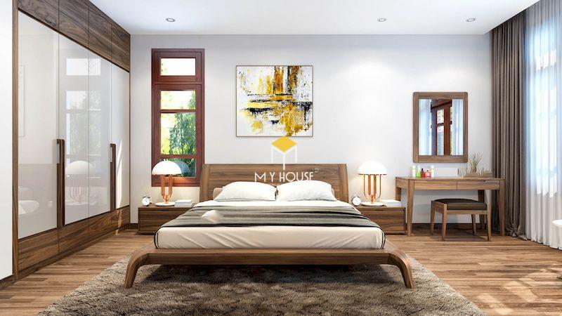 Giường gỗ 4 chân cao gỗ tự nhiên óc chó