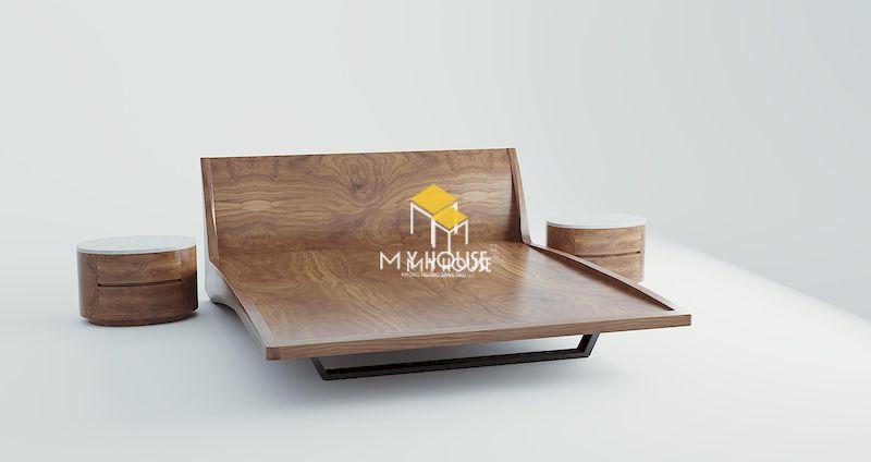 Giường ngủ bằng gỗ tự nhiên có chân chắc chắn