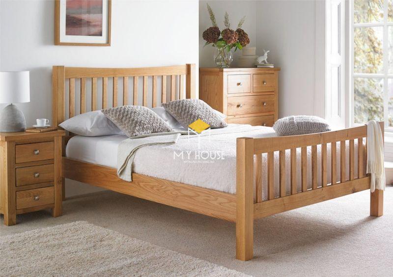 Giường gỗ 4 chân cao gỗ công nghiệp