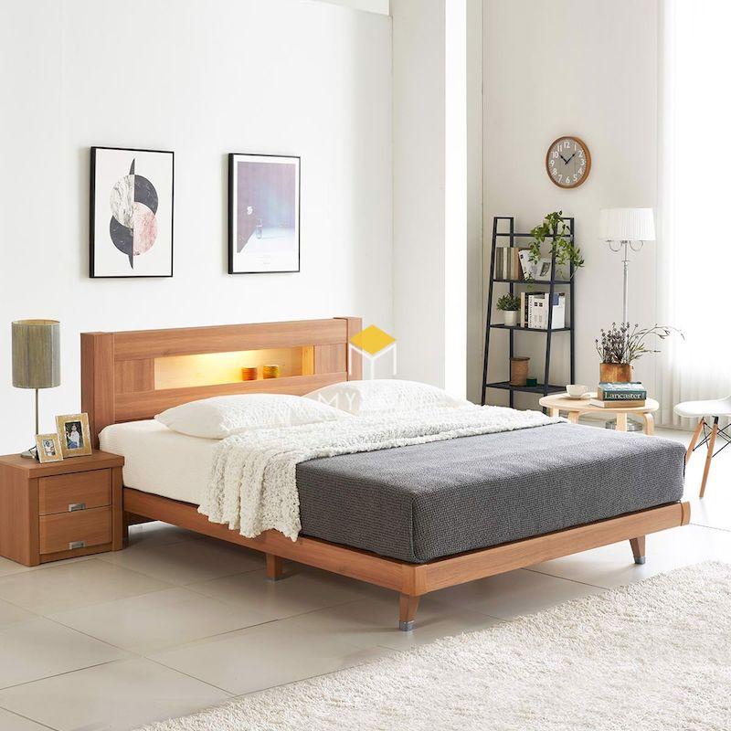 Giường ngủ bằng gỗ cao cấp cho phòng ngủ, thiết kế chắc chắn, hiện đại