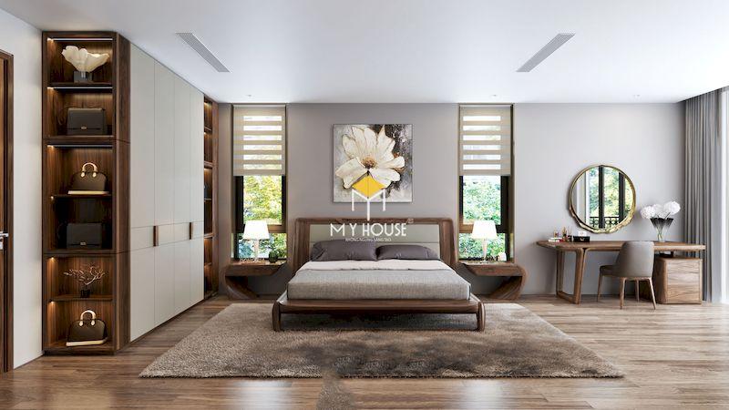 Trang trí nội thất phòng ngủ với giường ngủ gỗ óc chó