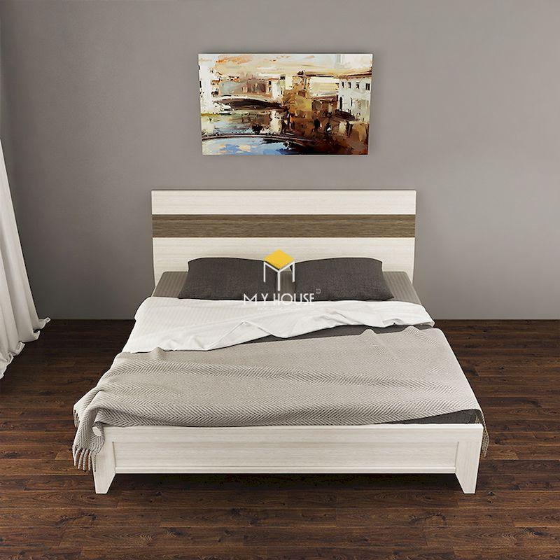mẫu giường gỗ công nghiệp sơn trắng