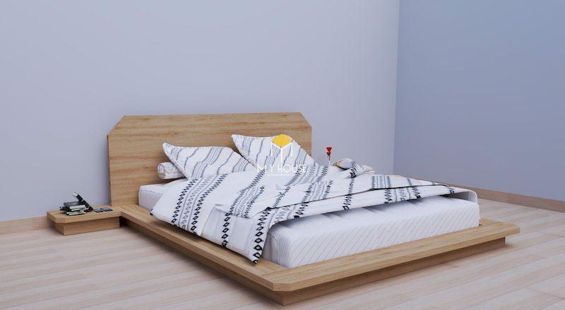 Mẫu giường gỗ công nghiệp có chân thấp
