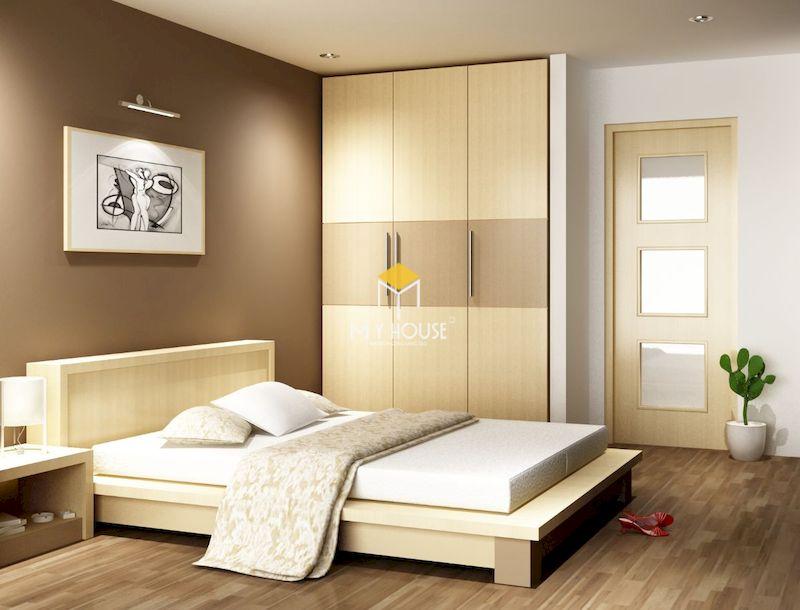 Giường gỗ công nghiệp có chân gỗ tự nhiên