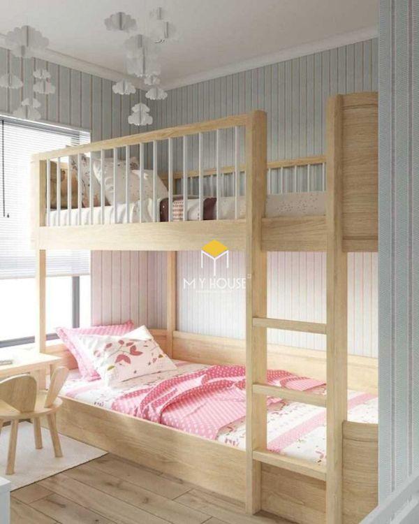 Giường tầng cho bé là từ chất liệu gỗ thông, gỗ sồi, gỗ óc chó tự nhiên