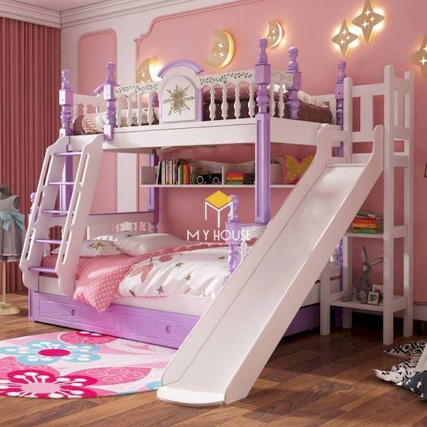 Trang trí giường tầng màu tím cho bé