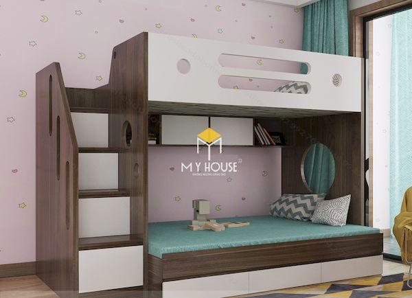 Giường tầng gỗ óc chó kết hợp gỗ HDF