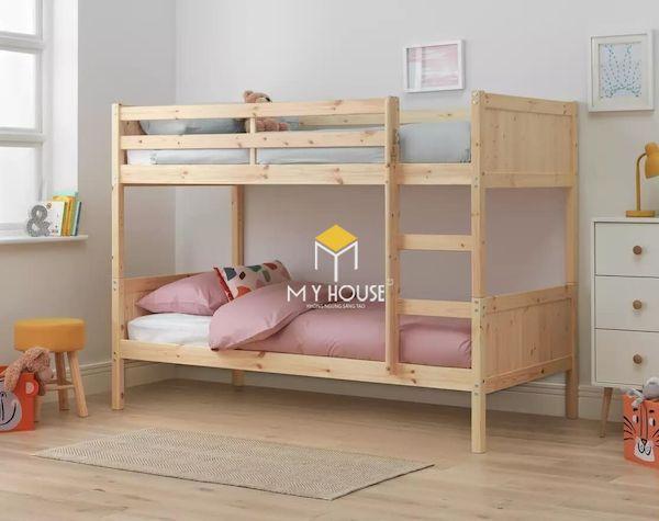 Mẫu giường tầng cho bé được làm bằng gỗ tự nhiên an toàn và đơn giản
