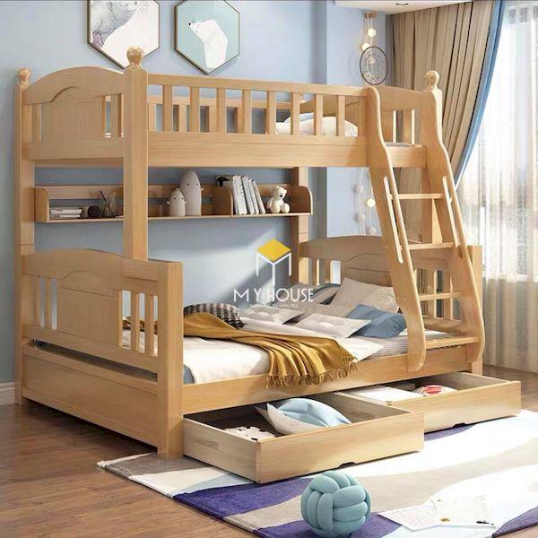 Giường tầng đa năng bằng gỗ sồi tự nhiên