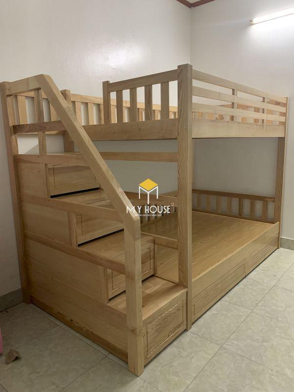 Mẫu giường tầng cho bé bằng gỗ sồi tự nhiên, không chất hóa học