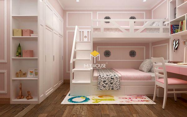 Mẫu giường tầng màu hồng cho bé gái