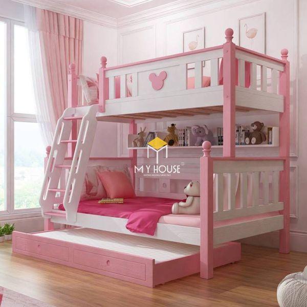 Trang trí giường tầng màu hồng cho bé gái