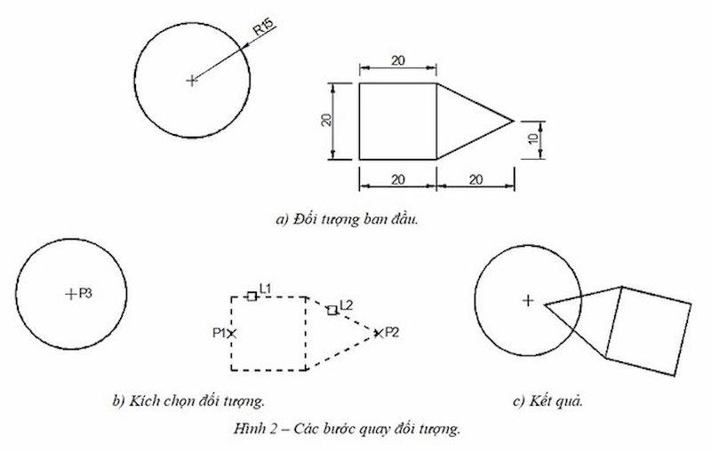 Ví dụ về cách thực hiện lệnh xoay trong cad bằng Ro