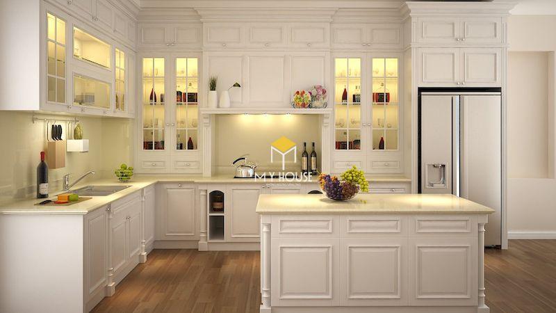 Mẫu thiết kế phòng bếp tân cổ điển gỗ công nghiệp