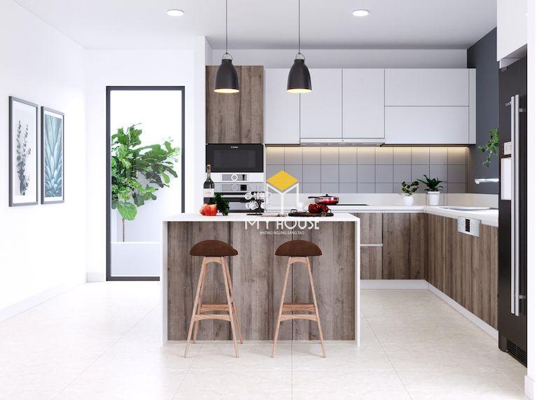 Thiết kế phòng bếp nhà ống 5m đơn giản hiện đại