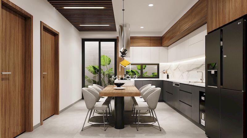 thiết kế phòng bếp nhà ống 2 tầng đẹp