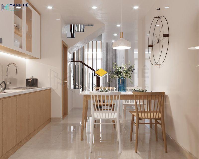 Phòng bếp nhỏ hẹp nối liền phòng khách nhà phố