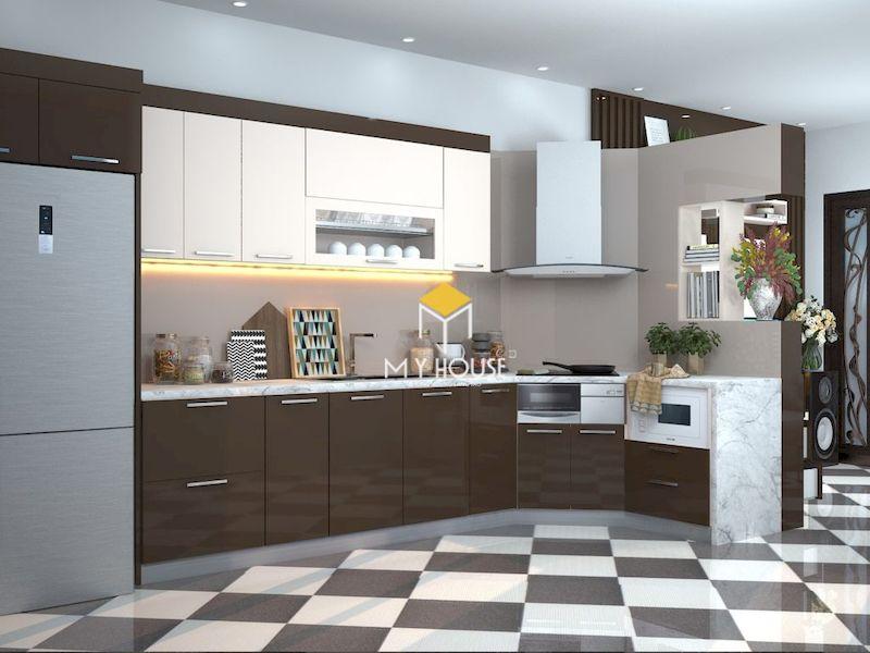 Mẫu thiết kế phòng bếp nhà ống 5m với tủ bếp chữ L