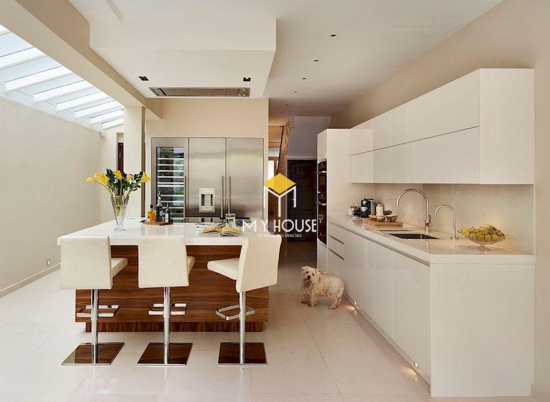 Thiết kế phòng bếp nhà ống 5m với tủ bếp chữ I