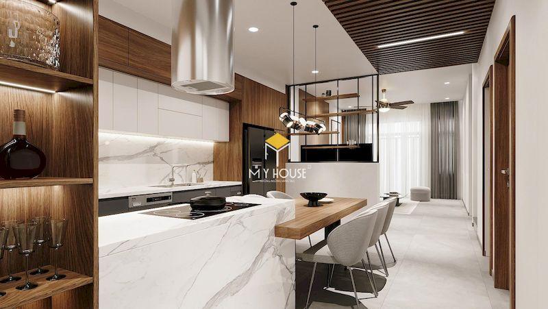 Thiết kế phòng bếp liên thông phòng khách để nới rộng diện tích sinh hoạt chung