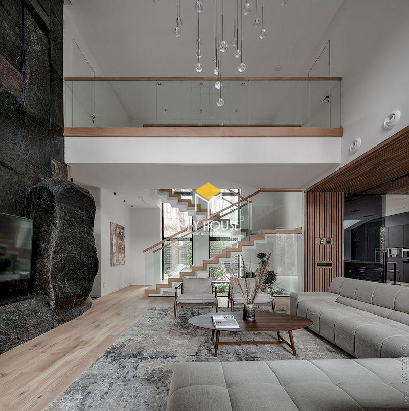 Mẫu phòng khách thông 2 tầng đơn giản hiện đại