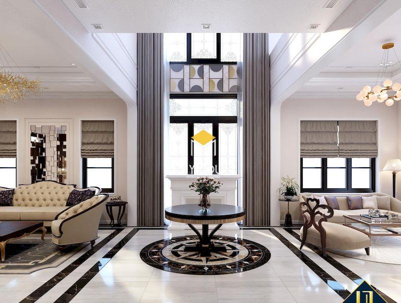 Mẫu phòng khách thông tầng tân cổ điển